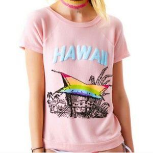 Wildfox Hawaii Rainbow Hut Sweater Shirt